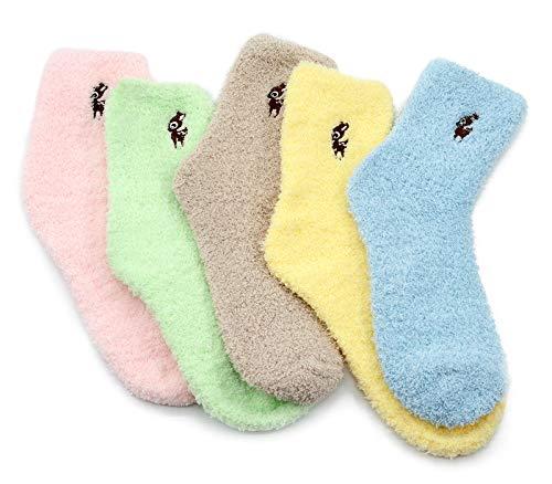 Durio Kuschelsocken Damen Wintersocken Warme Flauschige Weihnachtssocken Fuzzy Sock C 5 Paare Reh
