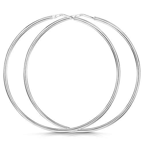 Amberta® 925 Sterling Silber Edle Ringe mit Scharnierbügel – Kleine runde Creolen Ohrringe - Durchmesse: 7 10 15 20 25 35 45 55 mm (55mm)