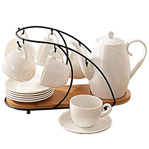 Juegos de té Individuales Cerámica juego de té de porcelana vidriada del café y de té Set Juego Hora del té juego de té Juego de café con la taza del sostenedor de 6 tazas y tetera de la tetera y la t