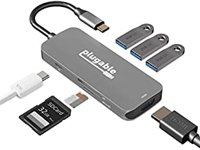 USB C Hub Multiport Adapter, 7-in-1 Plugable Hub Compatible with MacBook Pro, Windows, Chromebook, Dell XPS, Thunderbolt 3 and More (4K HDMI, 3 USB 3.0, SD & microSD Card Reader, 87W Charging)