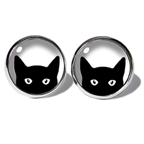 Black Cat Katzen Ohrstecker ABOUKI Damen Mädchen Kind Kinder Edelstahl Ohrschmuck Motiv schwarze Katze Kätzchen handgefertigte Ohrringe silber-farben