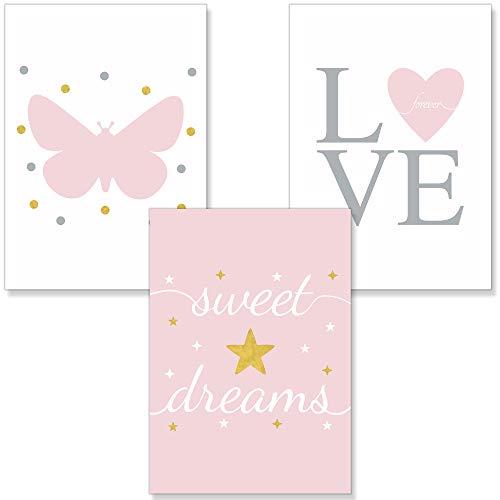PREMYO Bilder Kinderzimmer Deko Mädchen - Poster Set Babyzimmer - Wandbilder Schlafzimmer Herz Schmetterling Rosa A4