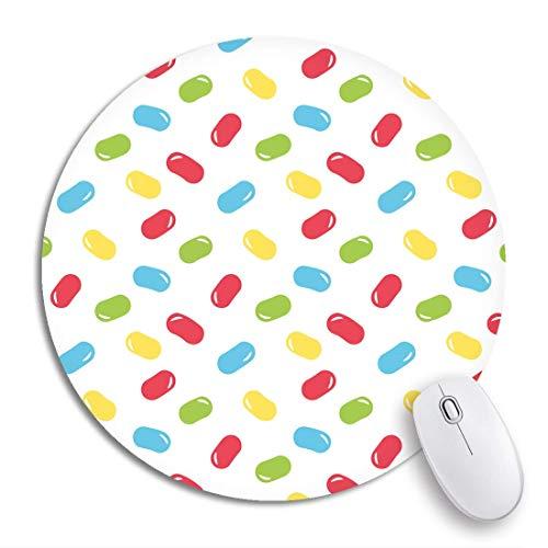 Rundes Mauspad Blau von niedlichen und bunten Gummibärchen Süßes rutschfestes Gummibasis-Mausmatten-Spiel-Mousepad für Computer