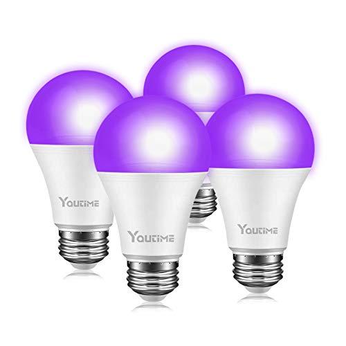 Bombillas de luces negras, 9 W, A19 E26, nivel UVA 380 – 400 nm, bombillas LED UV para luz negra, fiesta de cumpleaños, boda,...