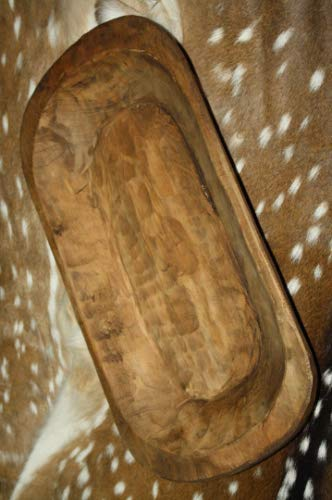 HomeOrnamentss Rustic Home Decor 22 inchCarved Wooden Dough Bowl Primitive Wood Trencher Tray