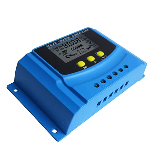 HUINE 20A Solar Charge Controller 12V 24V PWM Solar Regulator Compatible for Lithium ion Lifepo4 lead Acid Batteries with LCD Display&5V USB &Adjustable Parameter