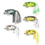 libelyef 5pcs Topwater Frog Lures, Frog Crankbait Tackle, Frog Fishing Lures Hard Fishing Baits, Artificial Bait Soft Swimbait Lures, For Bass Pike Snakehead Dogfish Salmon Musky