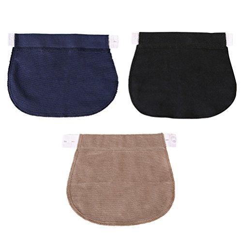 Healifty Extensor de Cintura para Pantalones para Mujeres Embarazadas o Futura Madre 3 Piezas (Negro, Azul Marino y Caqui)