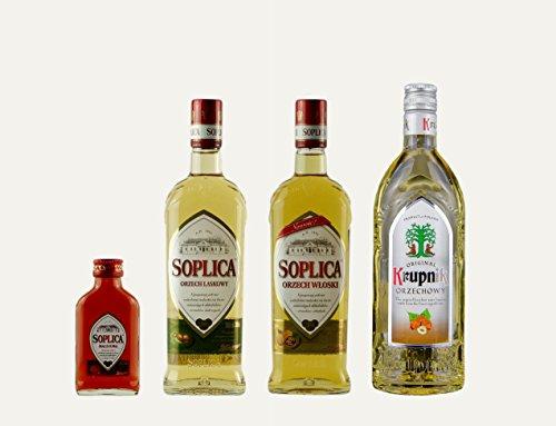 1x Soplica Haselnuss + 1x Soplica Walnuss + 1x Krupnik Haselnuss + 1x kostenfrei Soplica Himbeere in der Probiergröße (30%, 0,1 Liter) | Polnischer Haselnusswodka/-likör