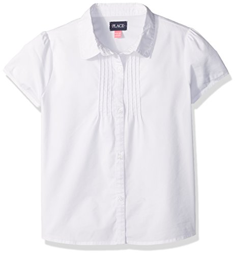 The Children's Place Big Girls' Uniform Short Sleeve Blouse, White 44392, Large/10/12