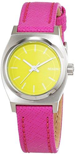 Nixon Damen-Armbanduhr Small Time Teller Neon Yellow/Hot Pink Analog Quarz Leder A5092081-00