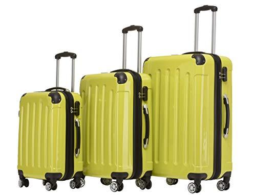 BEIBYE- 3er Kofferset Hartschalen-Koffer Reisekoffer Trolley Rollkoffer Set Reisekofferset (Green)