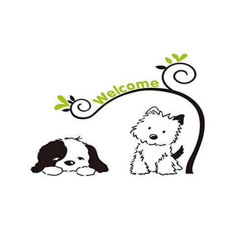 Winhappyhome Cute Dogs Welcome Art Muraux Stickers pour Entrance Corridor Door Décalcomanies Décor Amovibles