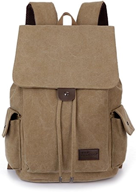 Canvas Double Shoulder Bag einfache Fashion Trend Schüler Schulmappen casual Outdoor Sport Rucksack, deep khaki Farbe B07238Y7R7 | Die Qualität Und Die Verbraucher Zunächst