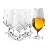 tulip pilsner - set di 6 bicchieri da birra da pub inglese, per birra belga, tedesca, birra britannica da mezzo pinta, 540 ml, eleganti bicchieri a forma di tulipano e stelo