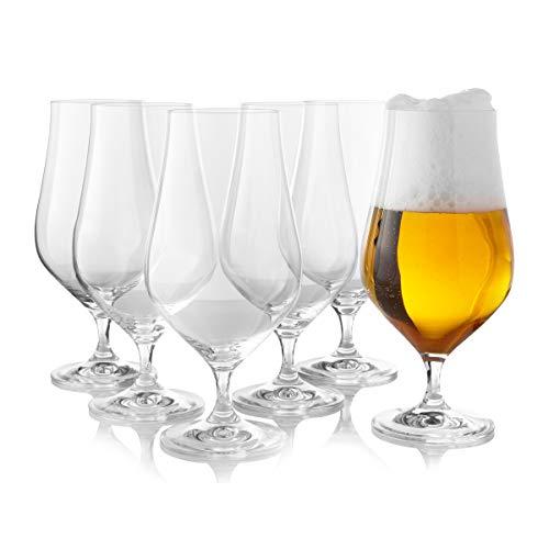 Tulip Pilsner Bier Gläser 6er-Set - Großes englisches Pub-Bierglas zum Trinken, 18,3 Unzen, 540 ml. Elegante Tulpenform Kristall & Stemmed Trinkgläser
