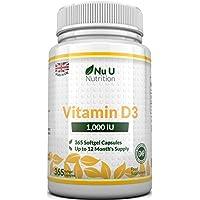 Vitamina D3 365 Cápsulas Blandas (Suministro para Todo el Año) Suplemento de Vitamina D3 de 1000 UI, Colecalciferol de Alta Absorción por Nu U Nutrition