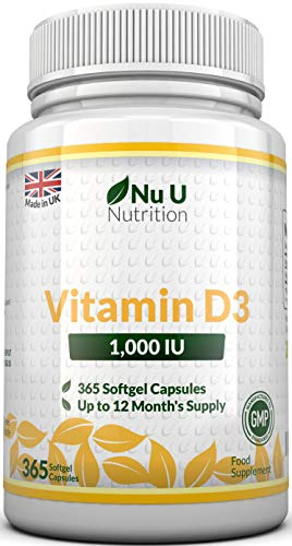 Vitamin D3 365 Softgels (Full Year Supply) | 1000IU Vitamin D Supplement | High Absorption Cholecalciferol Vitamin D (Vitamin D3 softgels Easier to Swallow Than Vitamin D Tablets) by Nu U Nutrition