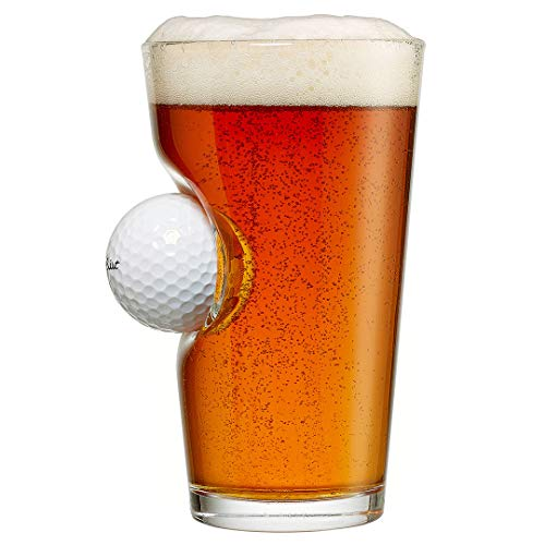 BenShot Golf Ball Glass with Real Golf Ball Embedded. Made in the USA (1, 16oz Pint)