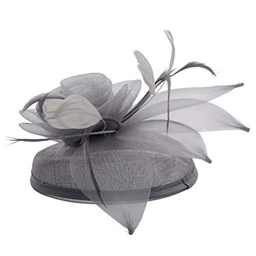 Runyue Sombrero Fascinador De Pelo Clip Novia Para Mujeres Y Niñas Plateado