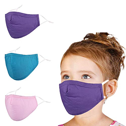 ,Kids Face Cloth Mask Reusable Washable, Adjustable Soft Comfortable for Childrens Boys Girls Breathable Good New Yearv2012 Christmas Gift Pretty Running 3D Purple Blue Pink Thin 4 Layer
