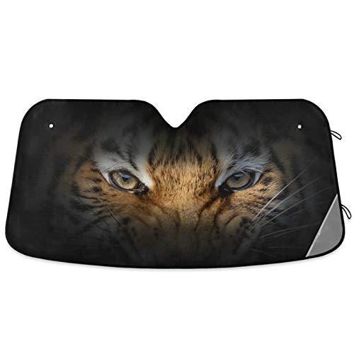 Oarencol Angry Tiger Eye Animal Car Windshield Sun Shade Foldable UV Ray Sun Visor Protector Sunshade to Keep Your Vehicle Cool (55' x 27.6')