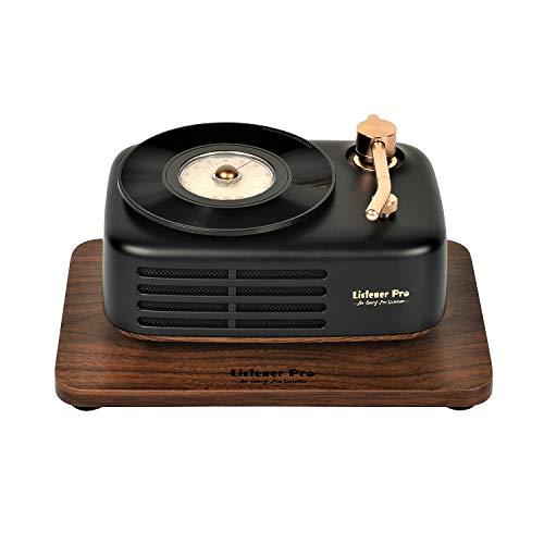 Listener Pro Retro Radio mit Bluetooth Speaker, 2 HD Stereo Bass Lautsprecher, Tragbares wiederaufladbar FM (Schwarz)
