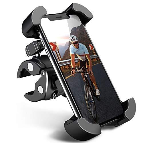 自転車スマホホルダー バイクスマホホルダー オートバイホルダー GPSナビマウント 携帯 固定用 スマートフォン振れ止め 脱落防止 片手操作 脱着簡単 360度回転 角度調整 自由調節 スポンジパッド付き 重撃吸収 優れた耐久性 強力な保護 多機種対応 4.5-7インチスマホ適用に