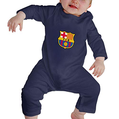 JCZZ Fc Barcelona Baby Jumpsuit Cotton Baby Crawl Suit Long Sleeve Bodysuit Navy3-6M