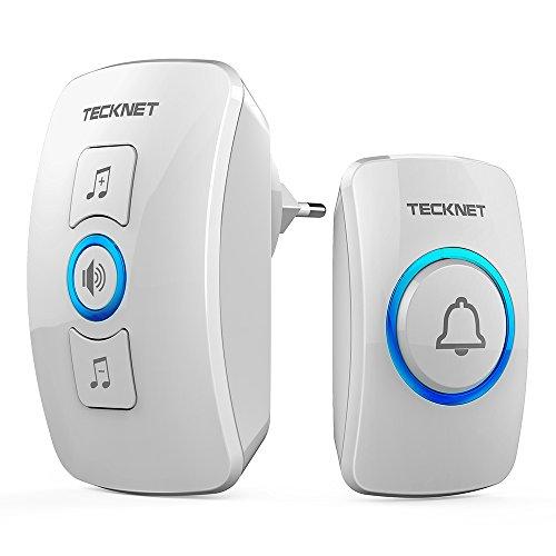 TECKNET Wireless Doorbell Kabellose Türklingel, Funk Türklingel 250m Reichweite, 4-Level Volume, Klingel und Klingelknopf Mit LED Anzeige