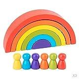 perfeclan 3 Set Holzbausteine Regenbogen Lernspielzeug Steckspiel Geometrie Bausteine Pädagogisches Puzzle Spielen Blöcke für Kinder ab 3 Jahren