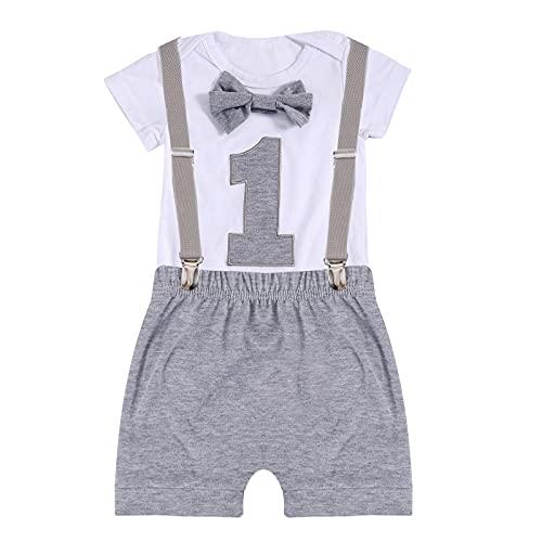Chennie Baby Jungen 1. Geburtstag Outfits Fliege Strampelanzug Strumpfhose Gentleman Kleidung Set für Fotofotografie (Grau-a, 9-12 Monate, 9_Months)