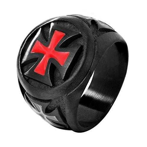 EzzySo Roter Kreuzritterring, Legierung tropfender Punk Ring, Retro Gotischer Herrenring für Männer und Frauen, (2 stücke),10
