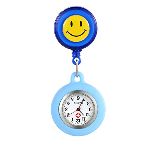 Lancardo Relojes Silicona Enfermera Reloj de Pulsera Fob Reloj de Mujer Sonrisa Digital Analog Revers elástico Ajustable Longitud Reloj de Bolsillo (Azul)
