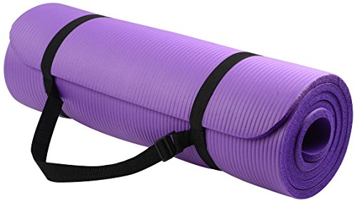 Everyday Essentials 1/2-Inch Extra Thick High Density Anti-Tear Exercise Yoga Mat with Carrying Strap, Purple