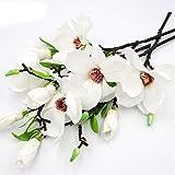 Fiori di magnolia artificiali, bouquet di magnolia finto tocco per composizioni floreali, magnolia a stelo lungo in seta bianca con foglie verdi per vaso alto per casa e ufficio