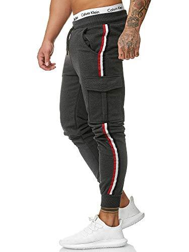 OneRedox Herren | Jogginghose | Trainingshose | Sport Fitness | Gym | Training | Slim Fit | Sweatpants Streifen | Jogging-Hose | Stripe Pants Modell 1318 Antrazit L