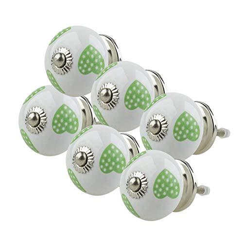 Ceramica mobili manopole assortiti set 6pcs 013GN cuore bianco verde–dipinto a mano porcellana manopola maniglie cassetto–Jay Knopf