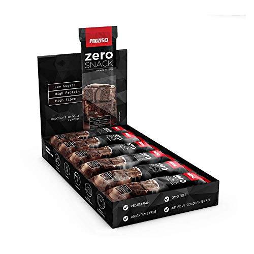 Prozis Zero Snack Barra Rico En Proteína y Bajo en Hidratos de Carbono y Azúcares, Brownie de Chocolate - 12 x 35 g