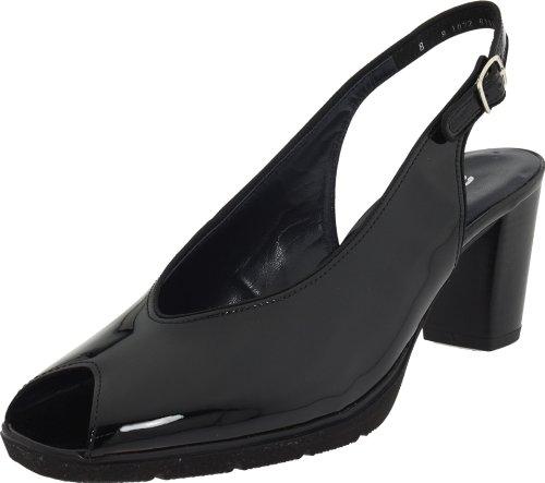 ara Women's Stina Peep-Toe Pump,Black Patent Leather,10 M US