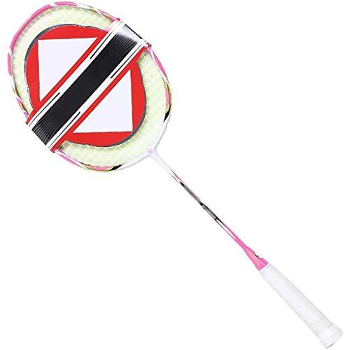 DXIUMZHP Raquetas Una Raqueta De Bádminton Adecuada para Adolescentes, 607 Mm, 75 G, Raqueta De Entretenimiento para Estudiantes Resistente Al Desgaste, Carbono (Color : Pink, Size : 607cm)
