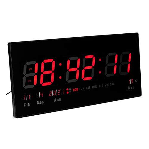 JEVX Reloj Digital de Pared Grande para Colgar, Alarma, Iluminacion en Color Rojo, Calendario, Medidor de Temperatura, Fuente de Alimentacion, Termometro