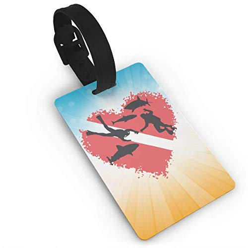 liang4268 Kofferanhänger Scuba Divers with Sharks Splash Heart Luggage Tag Business Card Holder for Men Women Baby Strollers Name ID Labels for Baggage Suitcase Tags Bulk