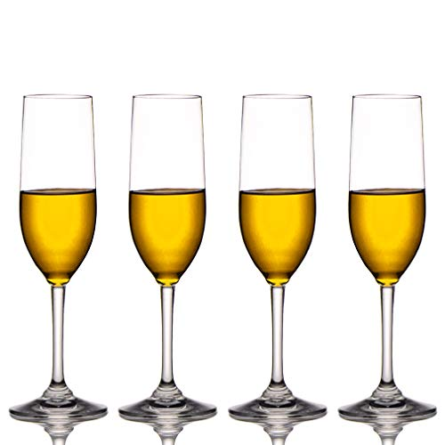 MICHLEY Tritan-Kunststoff Unzerbrechlich Champagner trinkglas, weinglaeser, gläser fur Camping Party, BPA-frei 170 ml Plastik Tasse 4 er Set