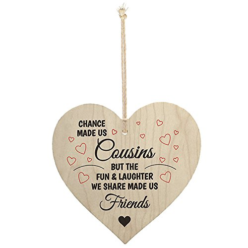 Meijiafei Cousins Fun Laughter Wooden Hanging Heart Plaque Sign Friendship Family Love