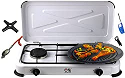 Camping stove 2 flame gas cooker gas grill 3,4 KW with lid gas stove hob + grill plate + phoenix gas stove cross + gas hose regulator set