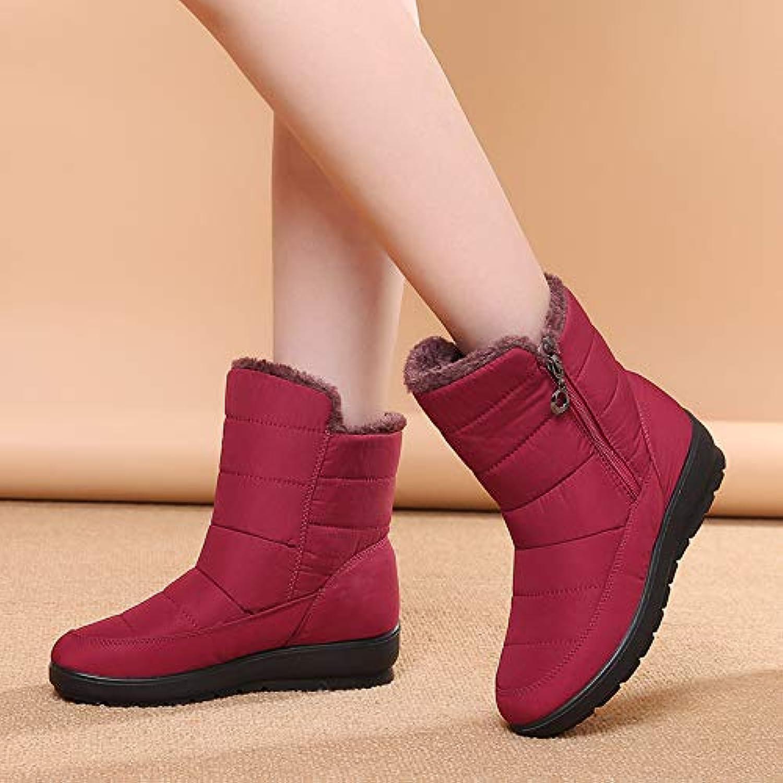 HOESCZS Damenschuhe Schneestiefel Damen Kurze Stiefel Winter Schnee Baumwolle Damenschuhe Warme Stiefel Flache Schuhe
