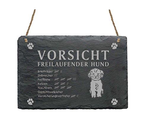 Schiefertafel « BOLONKA ZWETNA - VORSICHT FREILAUFENDER HUND » Schild mit Hunde Motiv - Türschild Dekoration - Garten Terrasse Tor Haustür Eingang