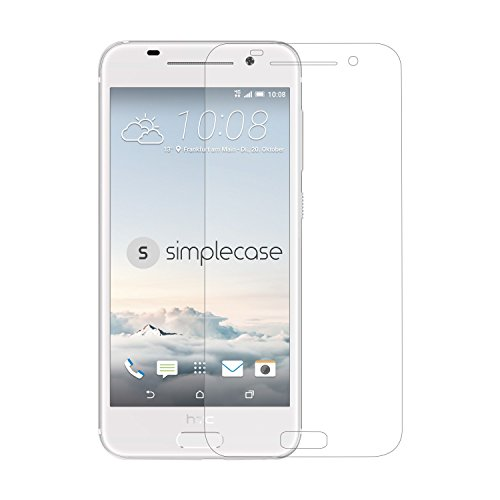 Simplecase Panzerglas passend zu HTC2 one A9 , Premium Bildschirmschutz , Schutz durch Extra Festigkeitgrad 9H , Hülle Friendly , Echtglas / Verb&glas / Panzerglasfolie , Transparent - 1 Stück