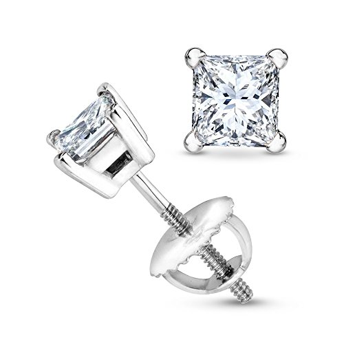 1 1/4 1.25 Carat Princess Cut Diamond Stud Earrings Earth-mined 14K White Gold (G-H VS1-VS2)